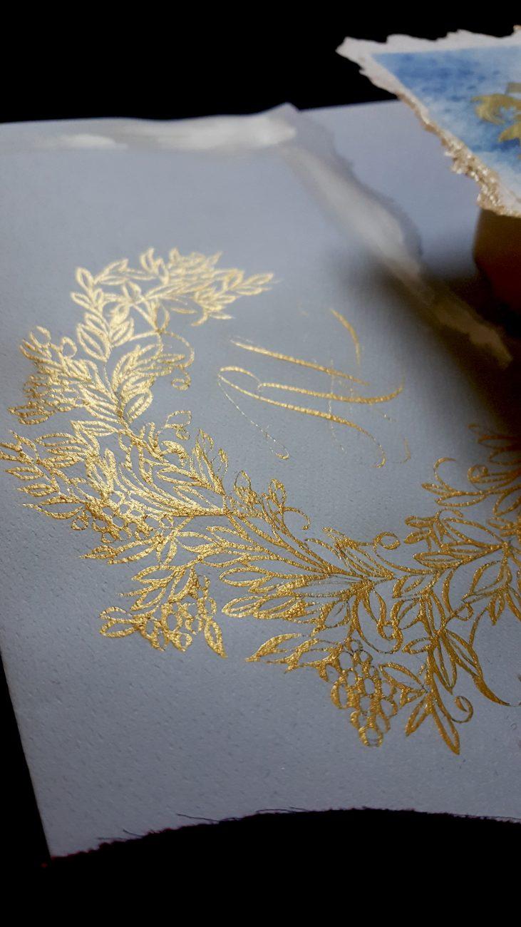 Italian Themed Wedding Invitations - luxury envelope with gold crest