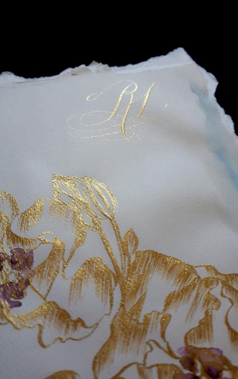 Italian Themed Wedding Invitations - luxury hand painted gold invite