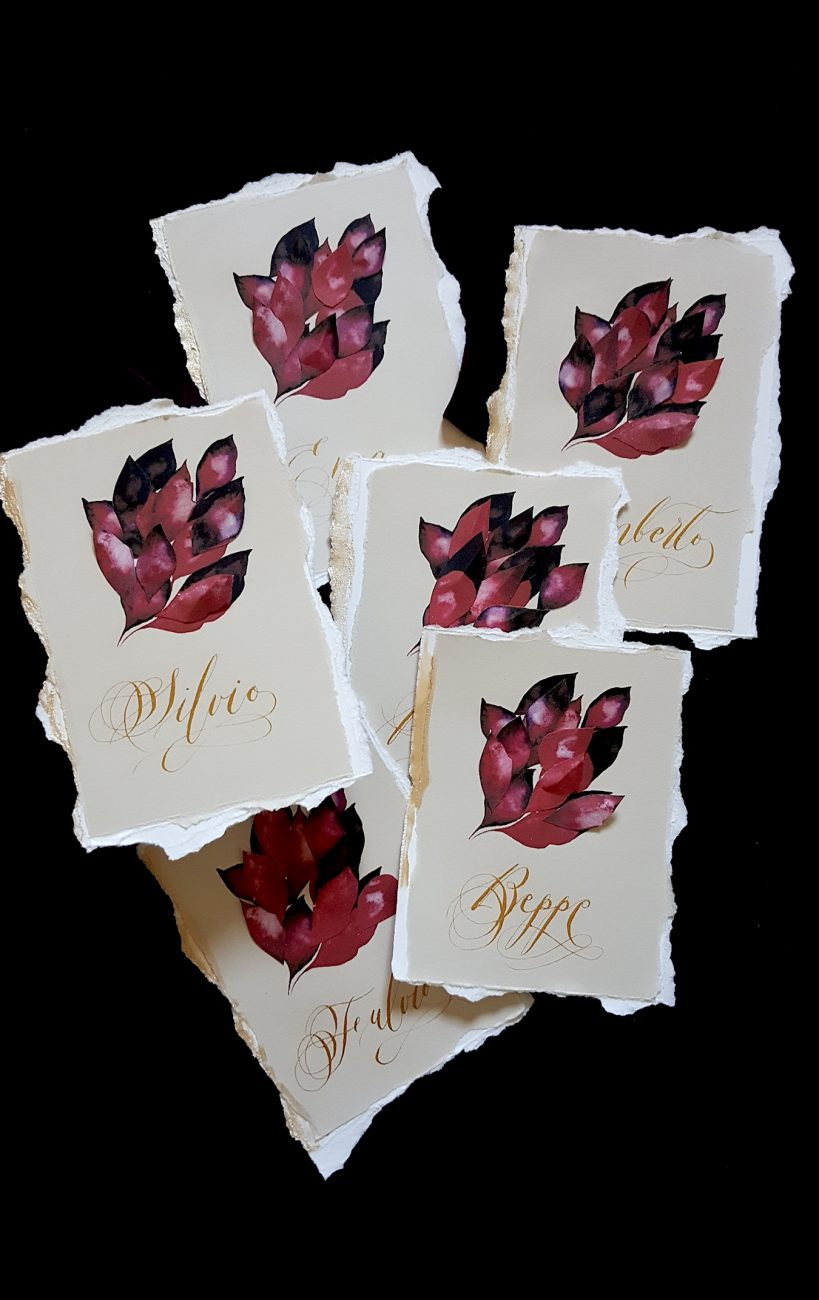 Italian Themed Wedding Invitations - red leaves place names