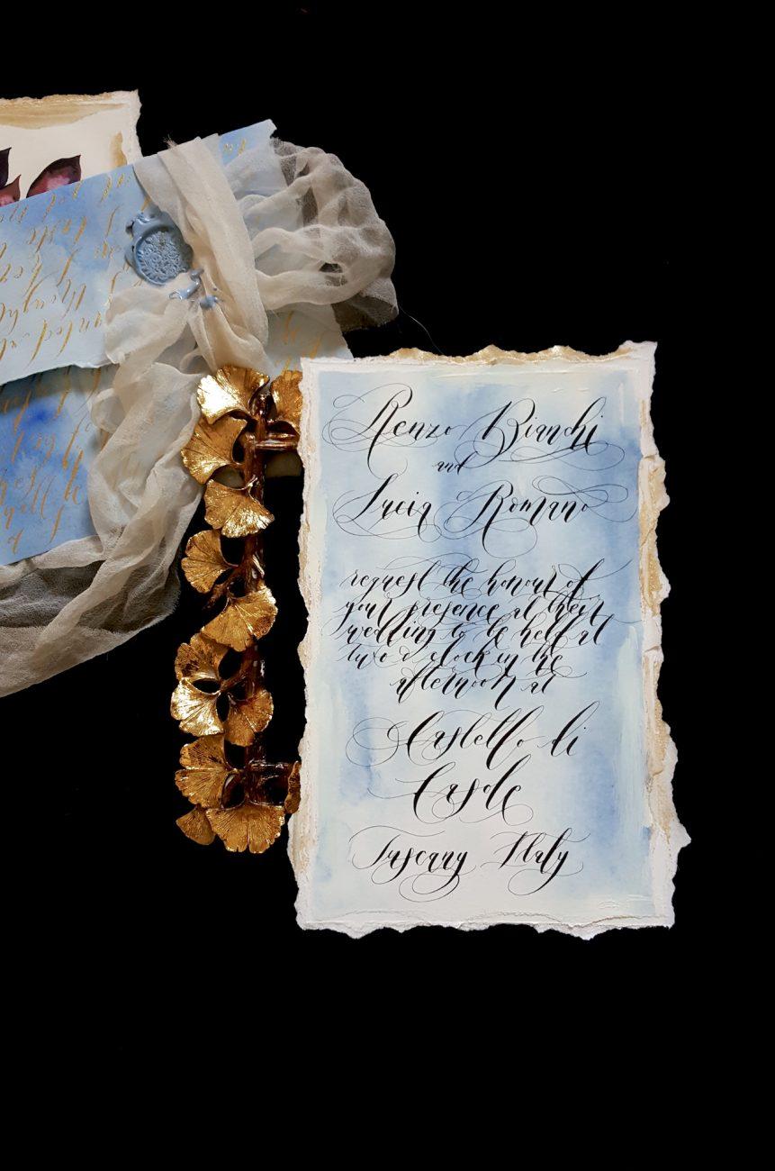 Italian Themed Wedding Invitations - wedding invitation with black calligraphy