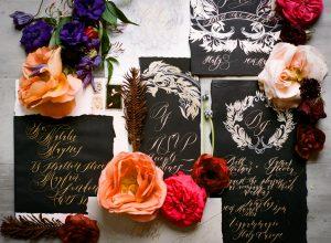 Wedding Stationery Designer black cards with rsvp LR