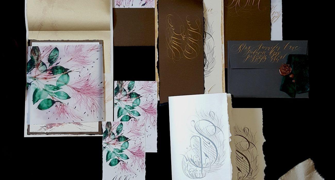 Wedding Stationery Designer pink floral wedding invitation suite