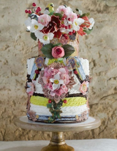 luxury wedding cake designers bright flowers with jumper knit patterns