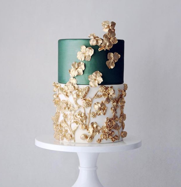 Luxury Wedding Cake Designers Green And Gold Cake Crimson Letters