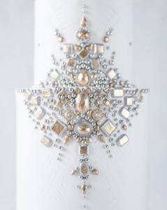 luxury wedding cake designers pale gold jewels