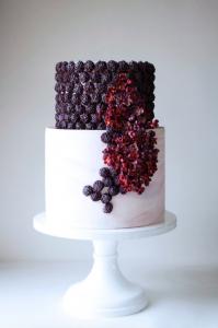 luxury wedding cake designers small dark red flowers and berries