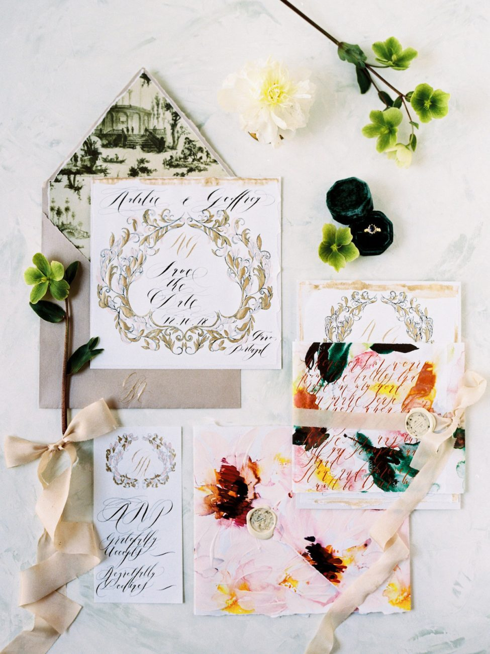 Hand Painted Wedding Invitations full suite with rsvp card