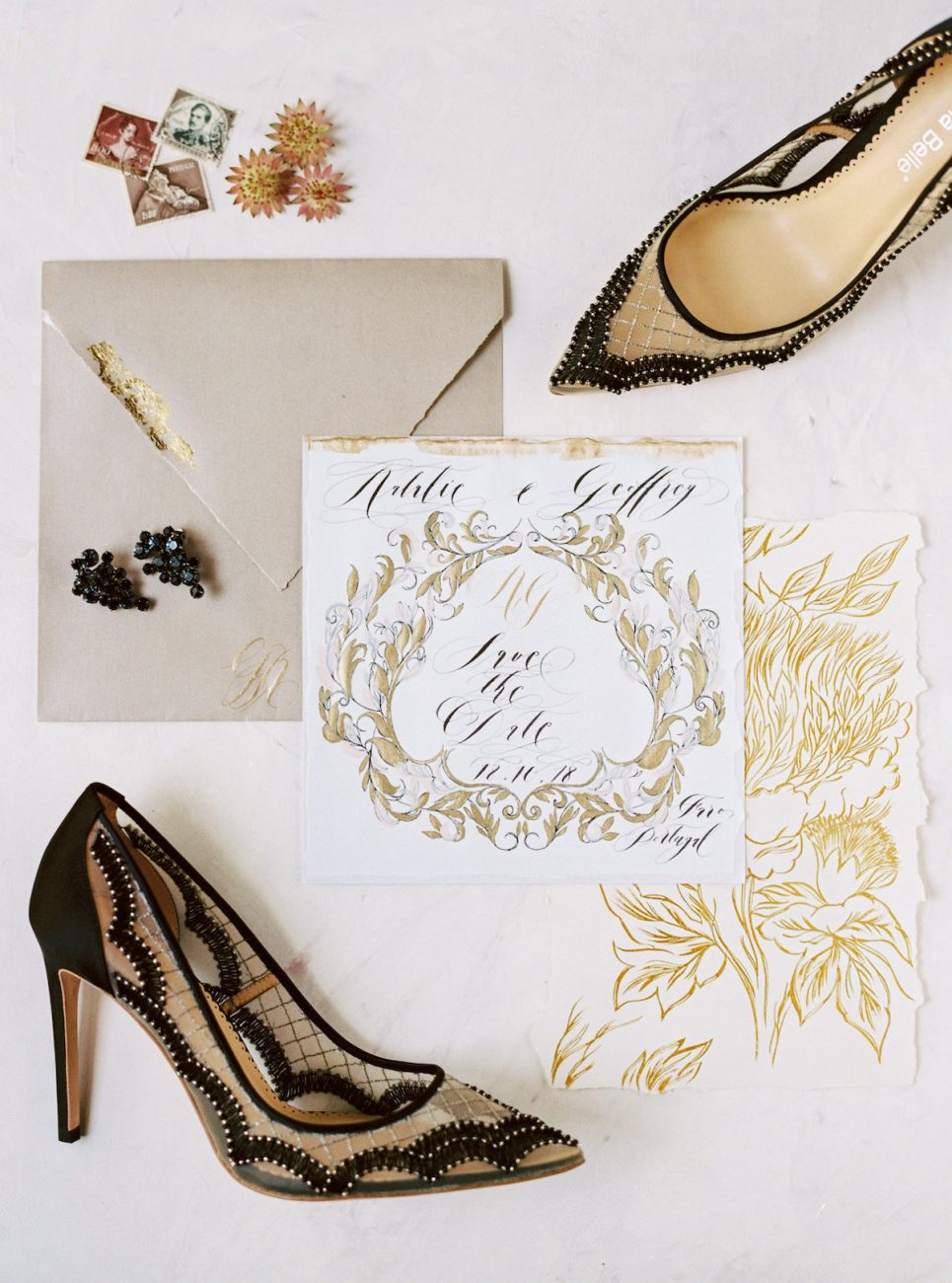 Hand Painted Wedding Invitations gold calligraphy floral