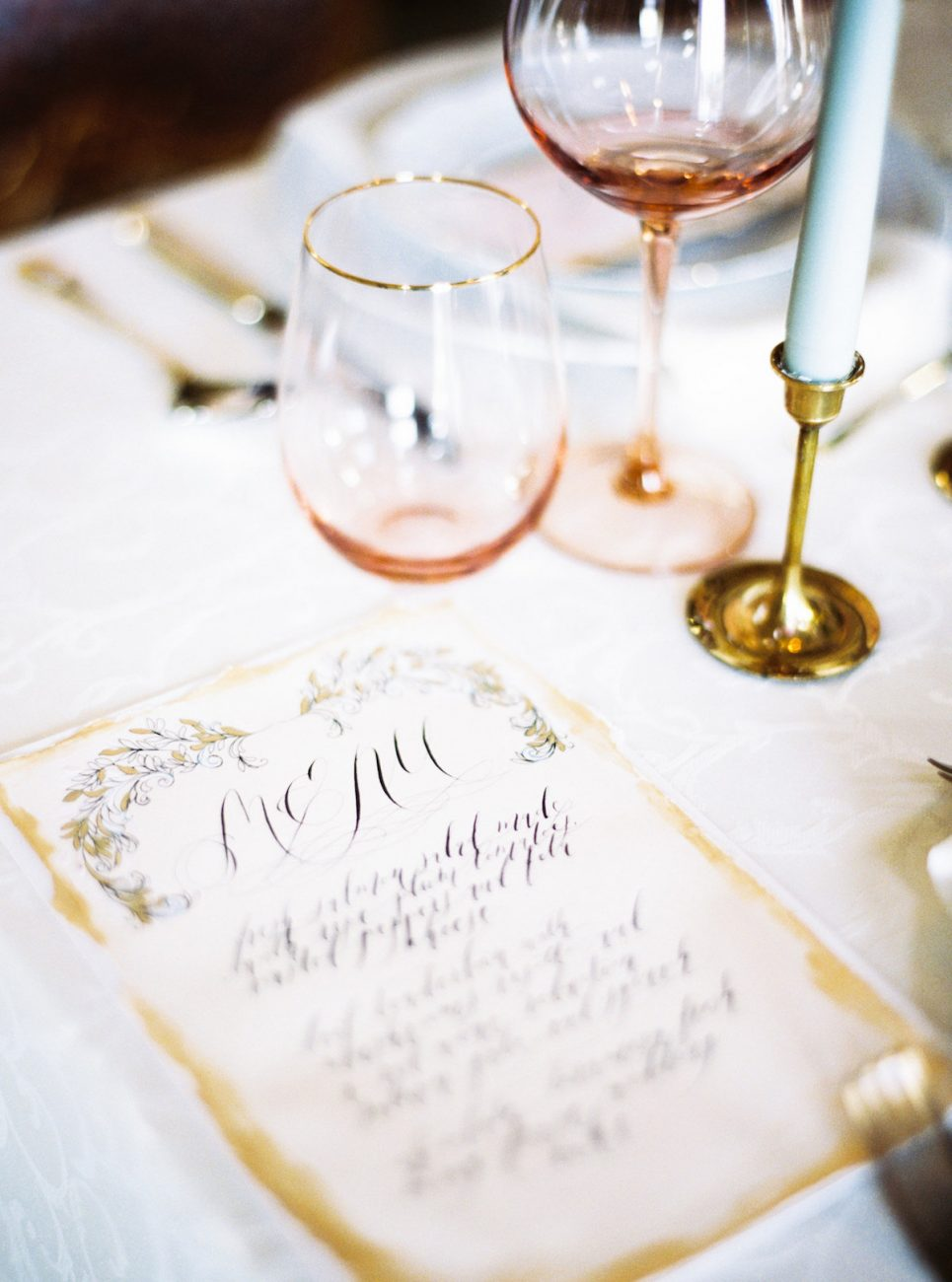 Hand Painted Wedding Invitations with a gold hand painted menu