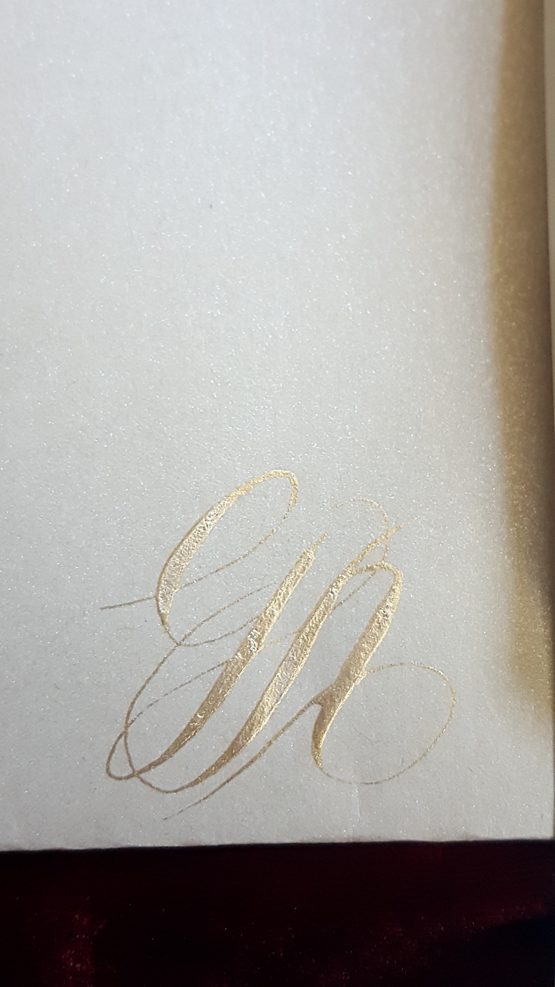 Hand Painted Wedding Invitations pale gold calligraphy initials on ...