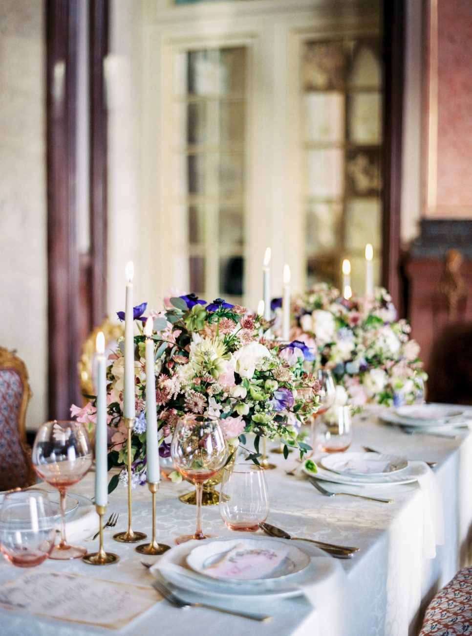 Hand-Painted-Wedding-Invitations-place-names-and-menus on a table-setting-in-a-palace