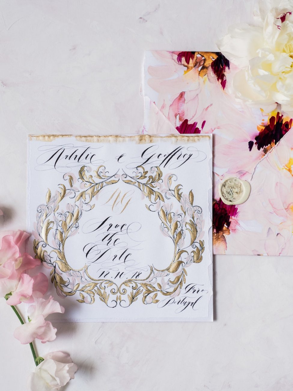 Hand Painted Wedding Invitations save the date with hand painted envelope
