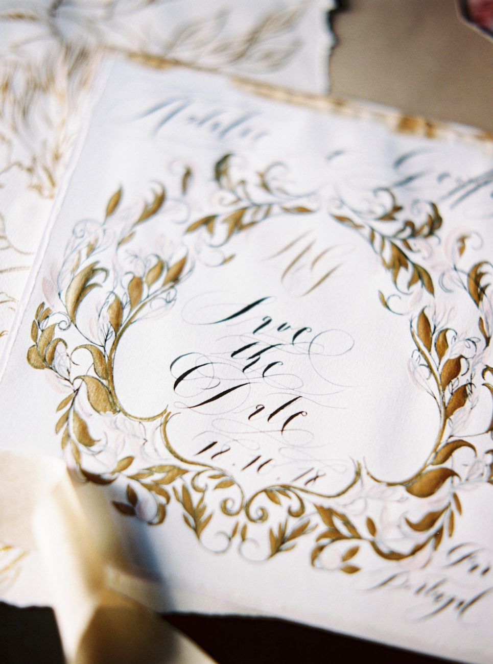 Hand Painted Wedding Invitations_wall painting gold save the date detail