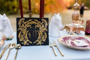 Rich Red & Gold Autumn Wedding black and gold table number