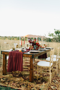 Rich Red & Gold Autumn Wedding colours furniture ideas