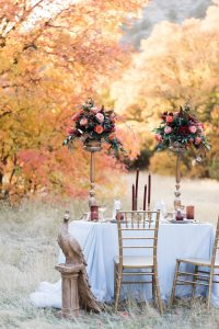 Rich Red & Gold Autumn Wedding tall flowers