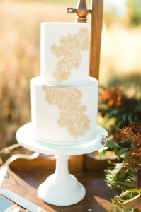 Rich Red & Gold Autumn white Wedding cake with gold lace icing