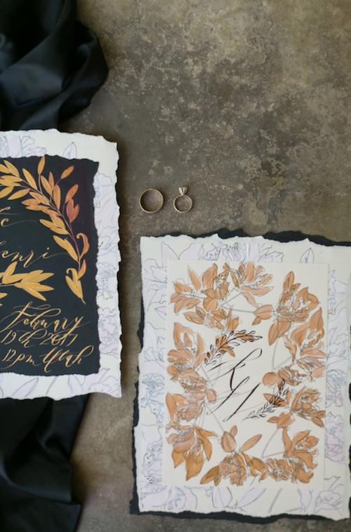 Thankful For Love hand painted wedding invitations monogram card