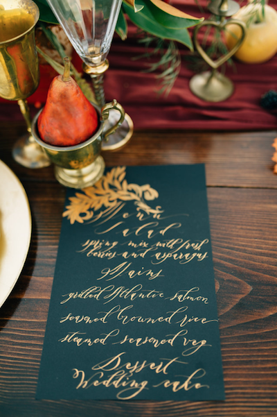 Thankful For Love table number and menu with pear in gold cup