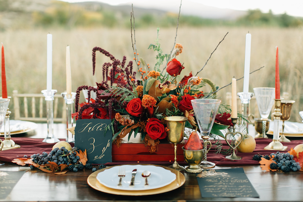 Thankful For Love table setting with flowers