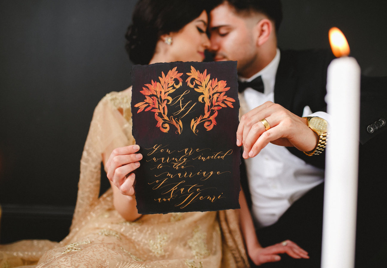 Unique & Luxury Handmade Wedding Invitations black card
