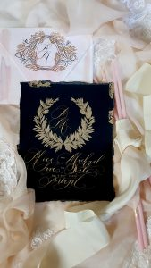 Wedding stationery business black and pink