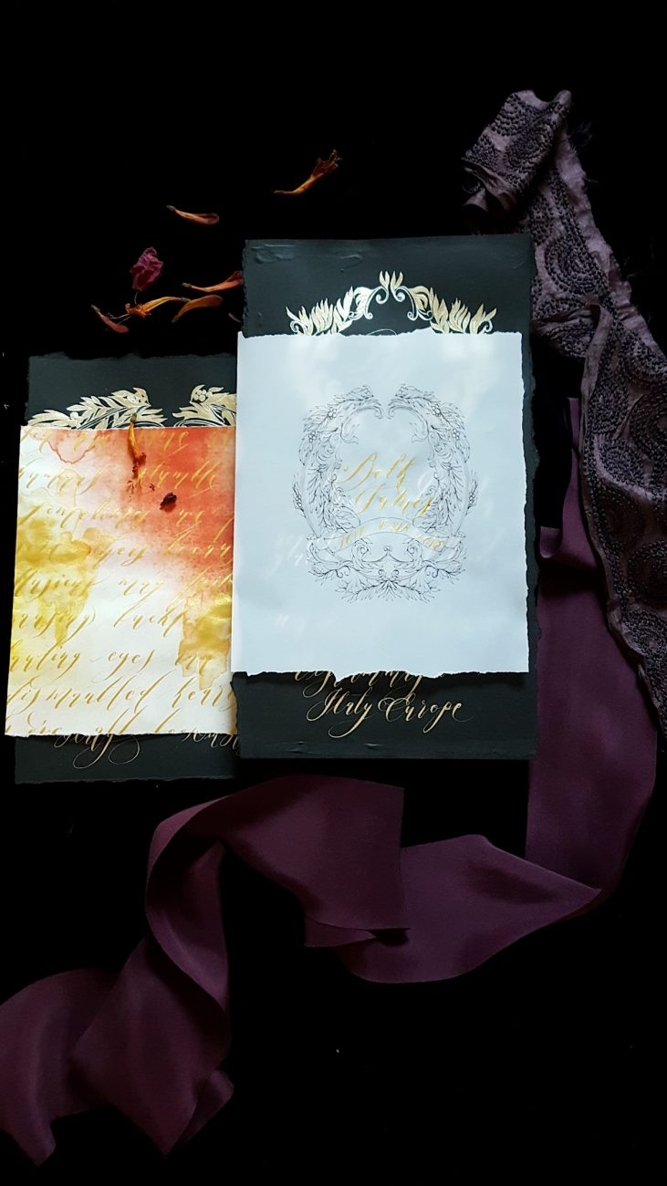 Hand Painted Wedding Stationery - Baroque Splendour invitation and vellum