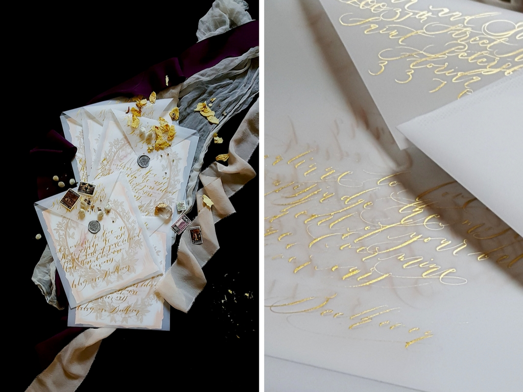 Wedding Invitation Trends 2019 calligraphy on envelopes back in gold