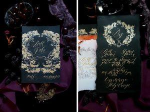 Wedding invitation trend 2018 black stationery