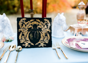 Wedding invitation trend 2018 black table number with gold leaves