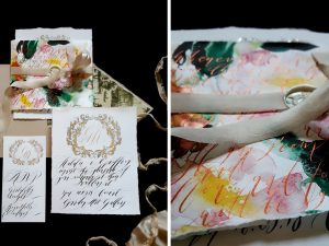 Wedding invitation trends 2018 calligraphy wraps with watercolour