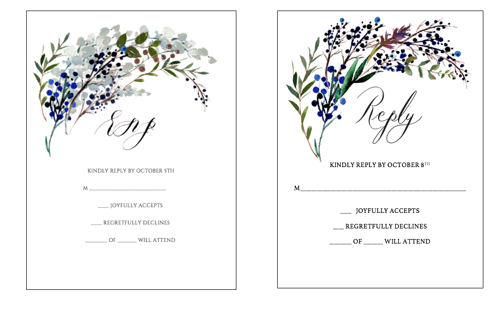 Custom Hand Painted Invitations - rsvp design revisions