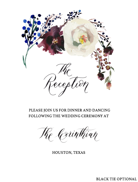 Custom Hand Painted Invitations - the reception card