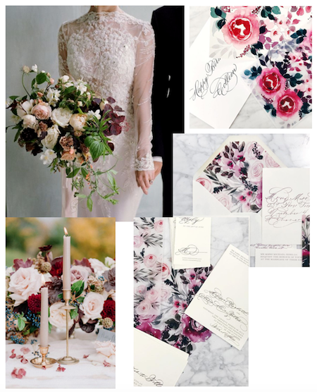 Custom Hand Painted Wedding Invitations - inspiration Mood Board