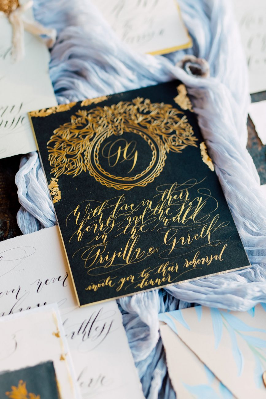 French Wedding Inspiration black wedding invitation with gold leaf foil