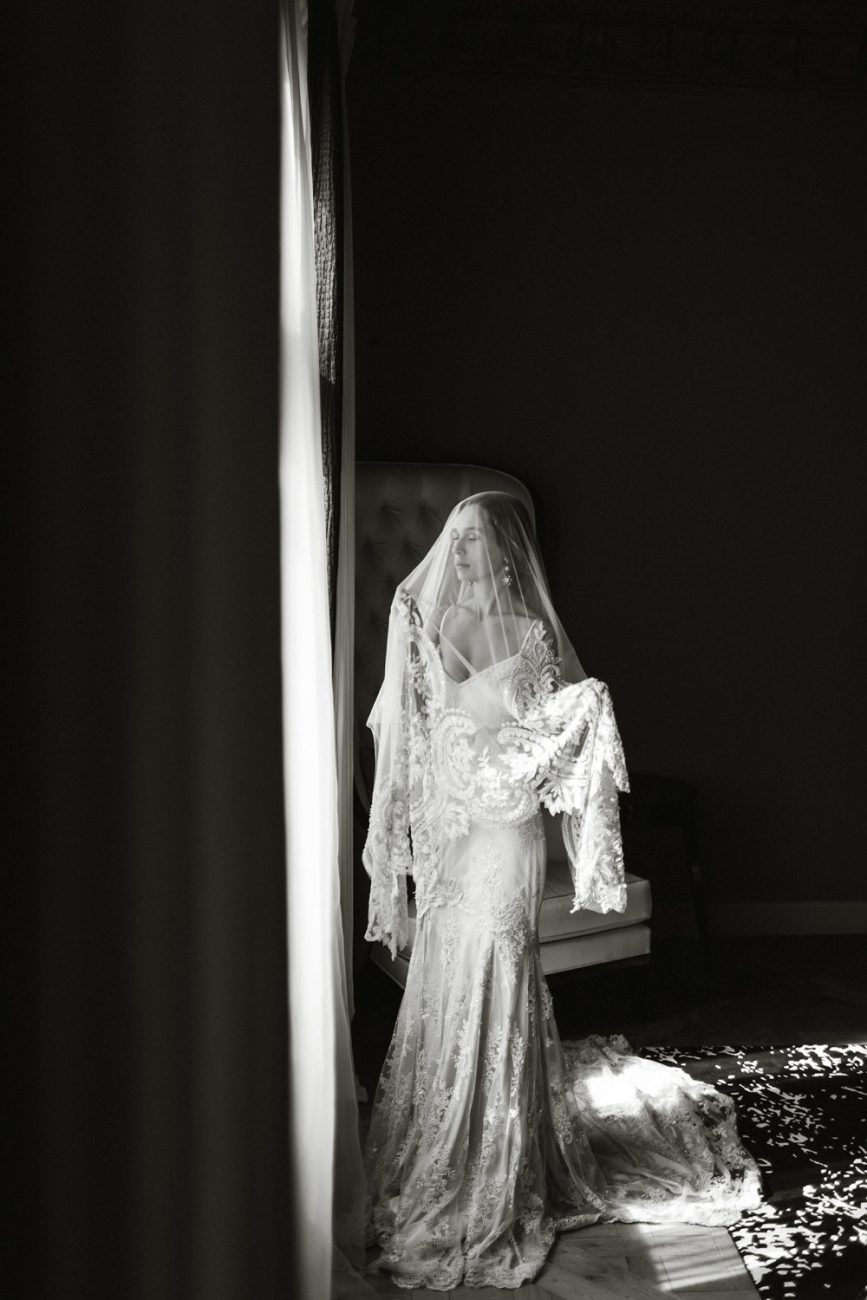 French Wedding Inspiration bride with long veil