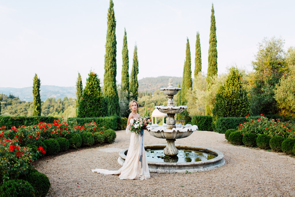 rench Wedding Inspiration fountain in gardens