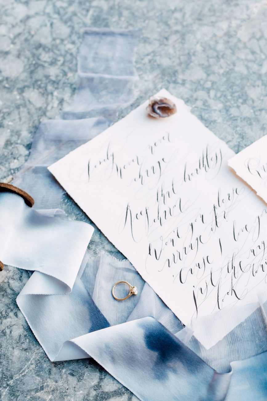 French Wedding Inspiration rsvp card with black calligraphy and ring