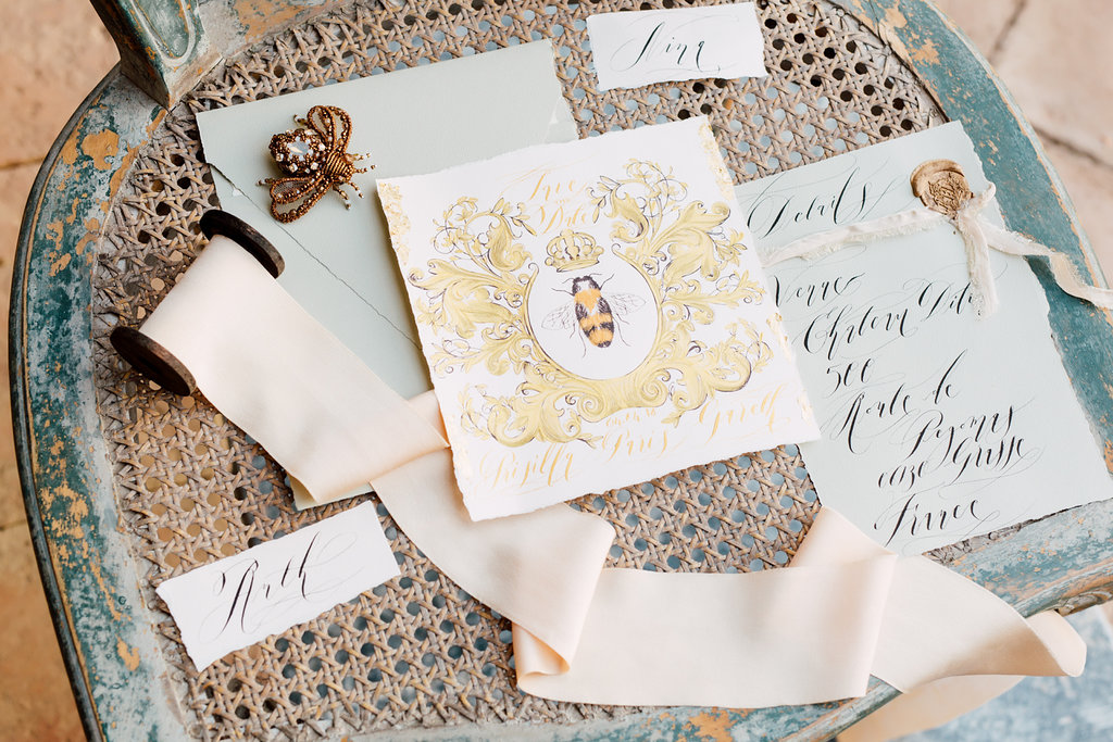 French Wedding Inspiration save the date with gold paint and details card