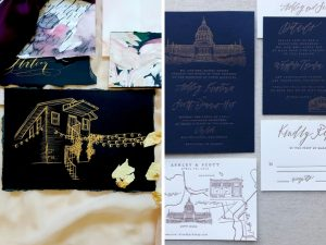 Latest Wedding invitation trends for 2019 map drawings