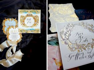 Latest Wedding invitation trends for 2019 monograms with gold