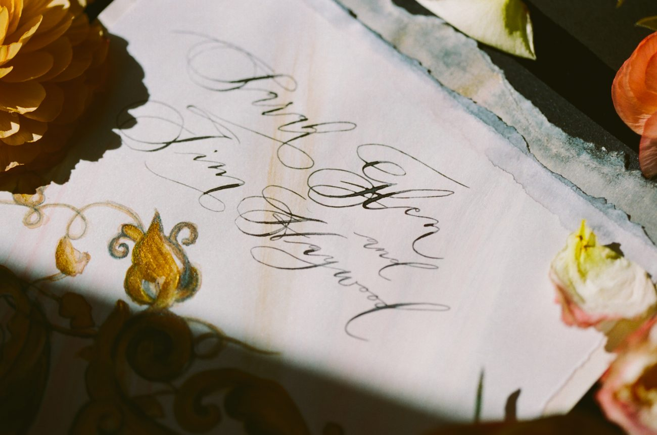 Black & gold hand painted wedding stationery LR gold detail