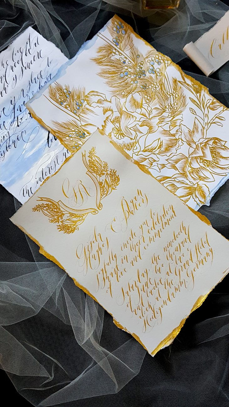 Hand Painted Wedding Invitations blue edges