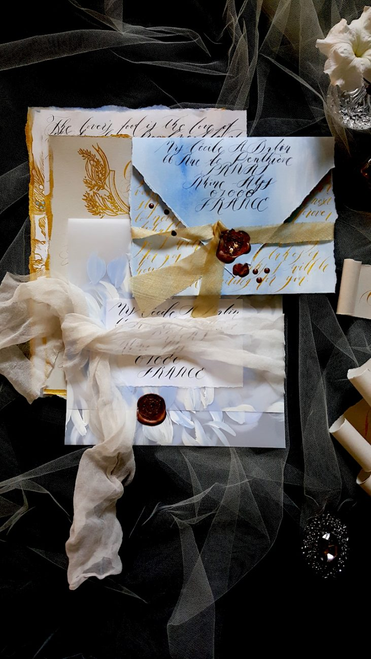 Hand Painted Wedding Invitations vellum envelope