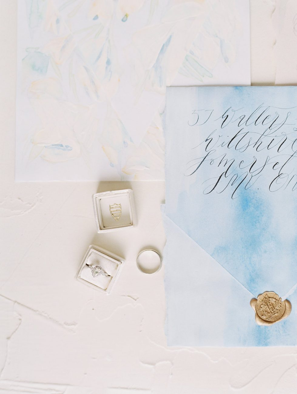Orange Country wedding inspiration blue envelope