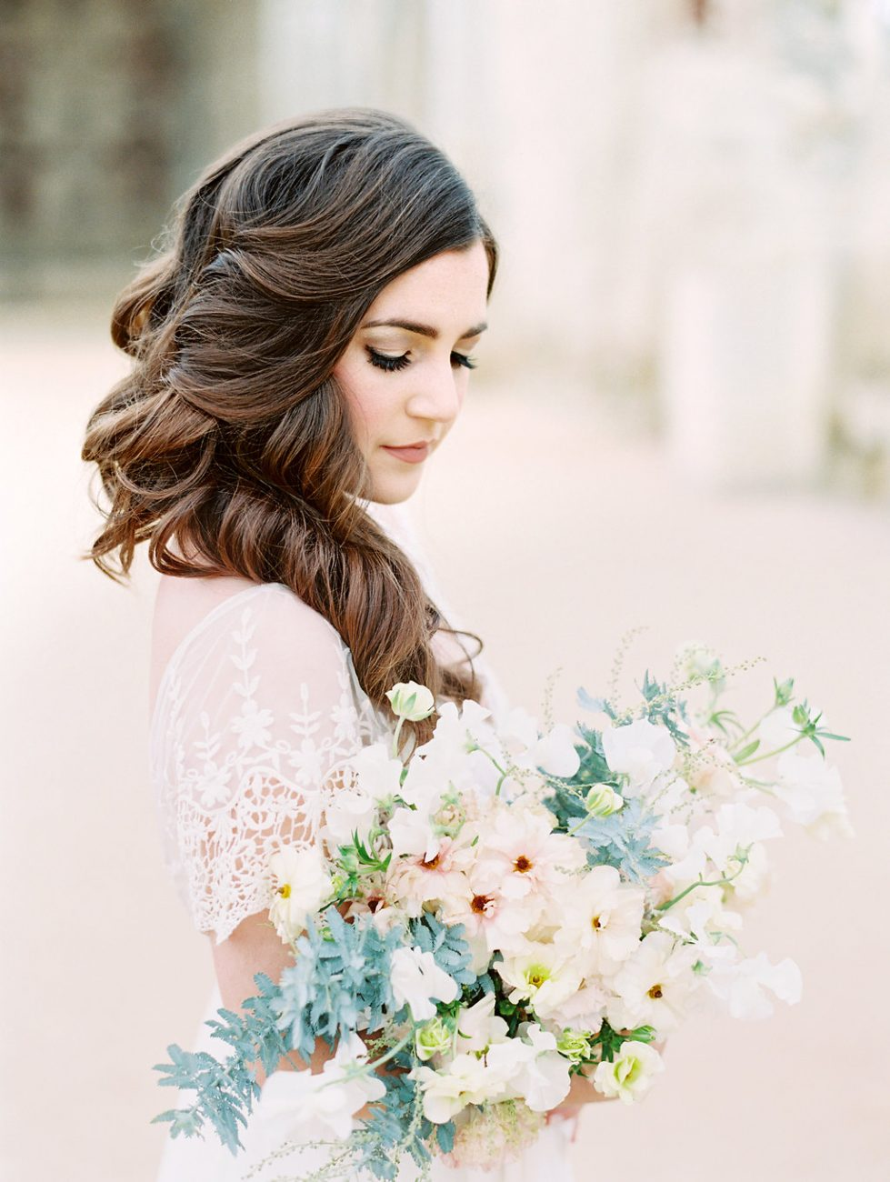 Orange Country wedding inspiration bride with florals