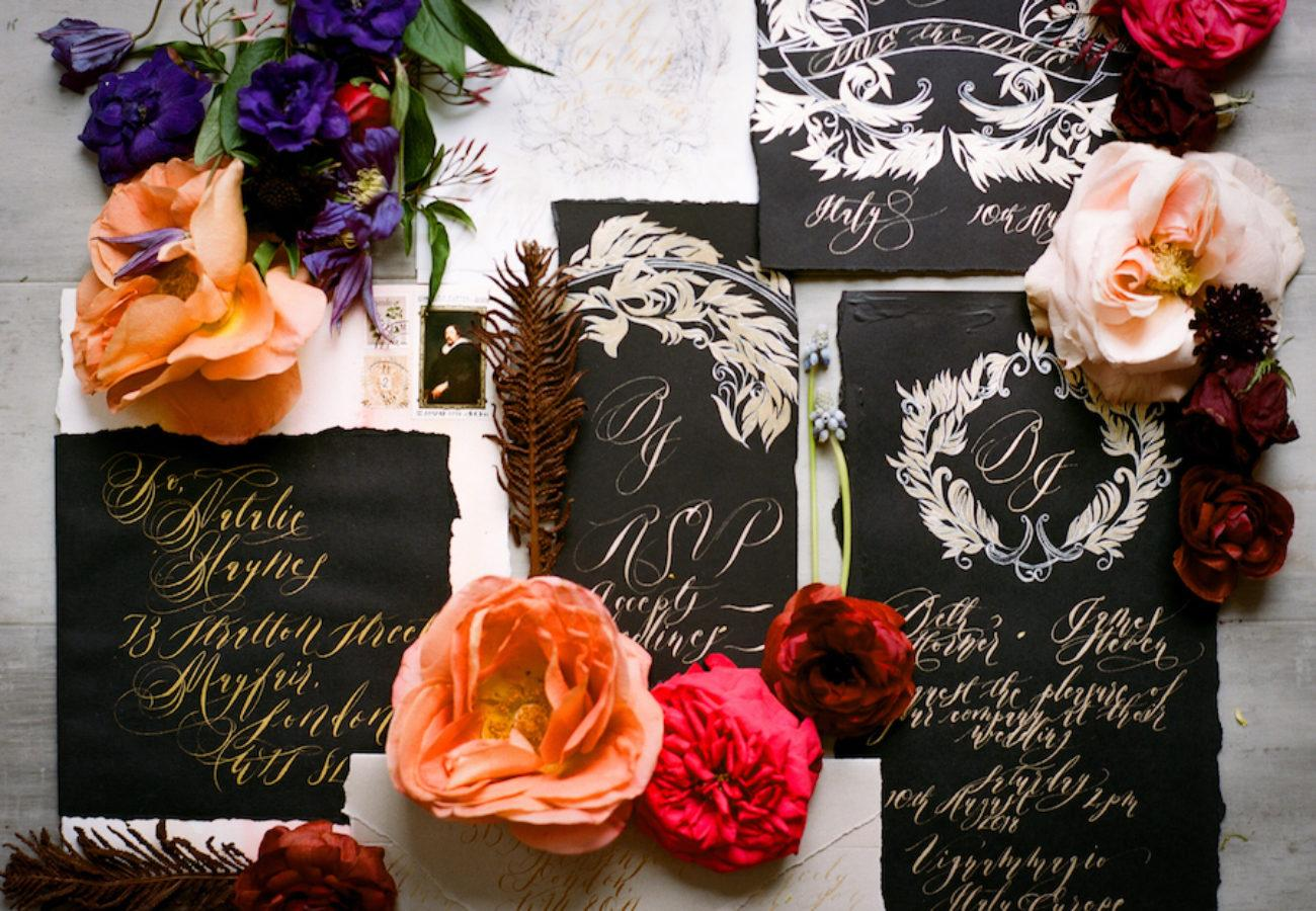 Unique & Luxury Handmade Wedding Invitations black invitations