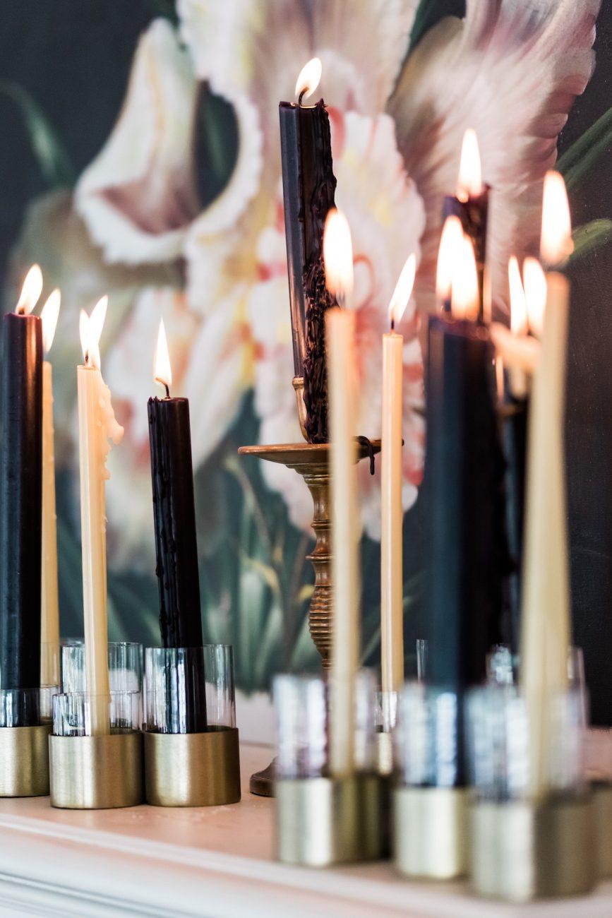 Fine Art Black Tie Wedding Inspiration Shoot black candles