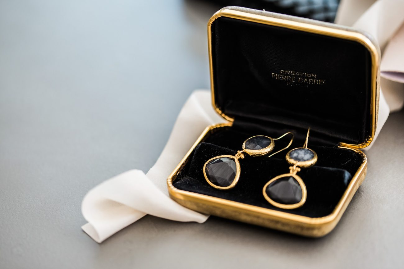 Fine Art Black Tie Wedding Inspiration Shoot bride earrings