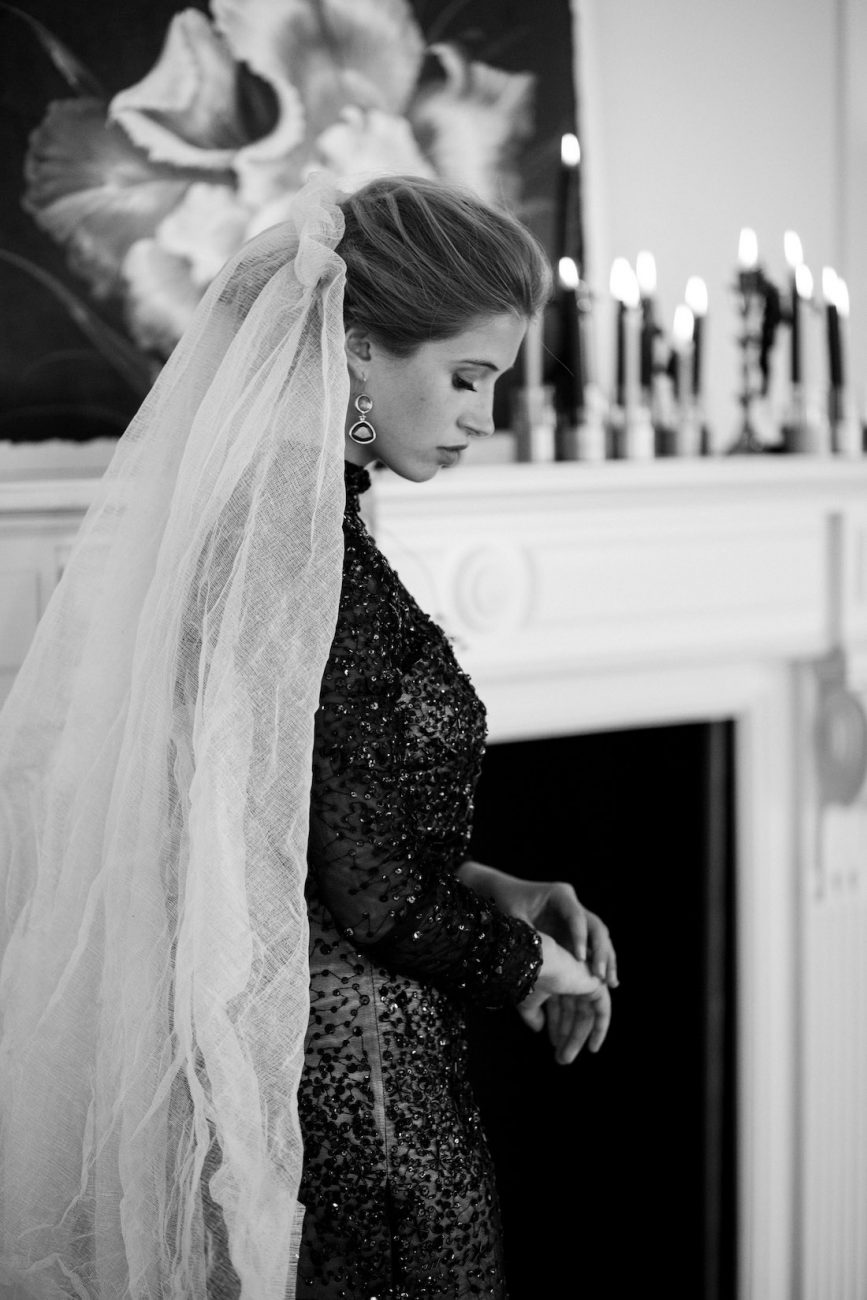 Fine Art Black Tie Wedding Inspiration Shoot bride in a black sequin dress with veil